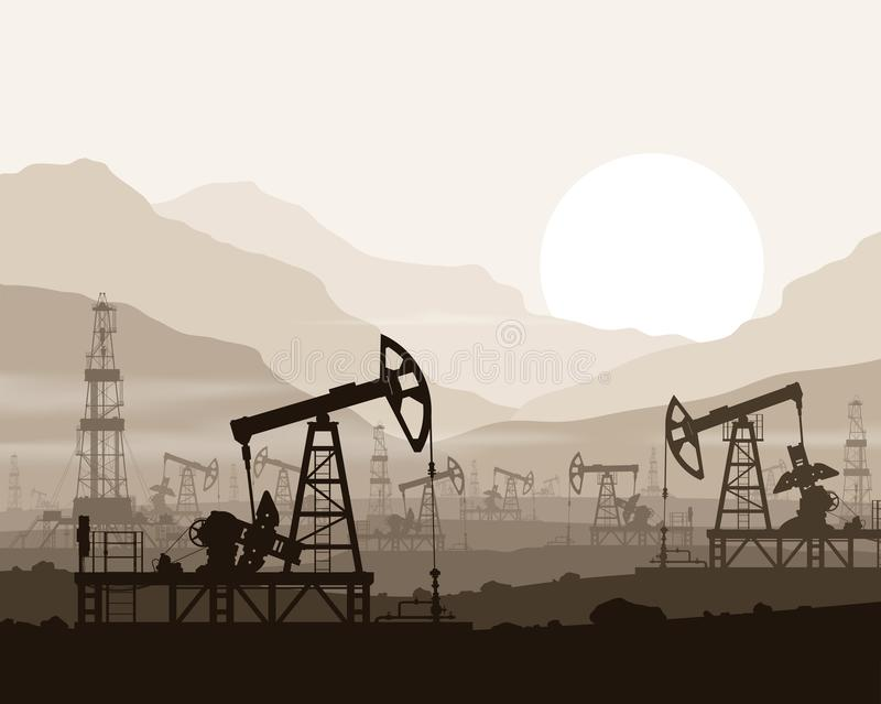 Oil pumps and rigs at oilfield over mountains. vector illustration
