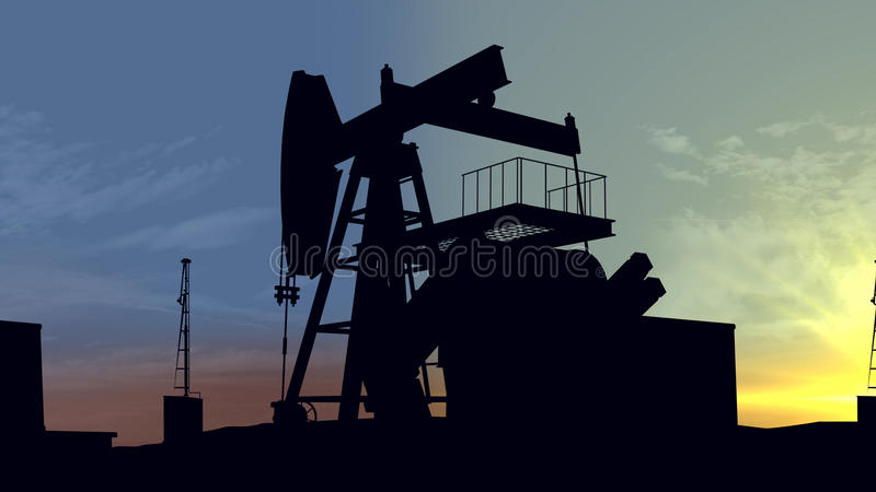 Oil pumps at sunset. Oil industry equipment. royalty free illustration