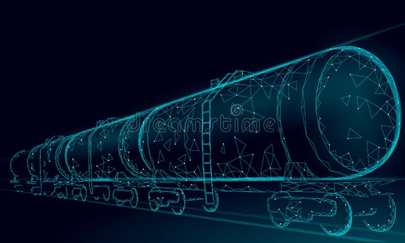 Oil railway cistern 3D render low poly. Fuel petroleum finance industry diesel tank. Cylinder railroad wagon train. Gasoline logistic economical business stock illustration