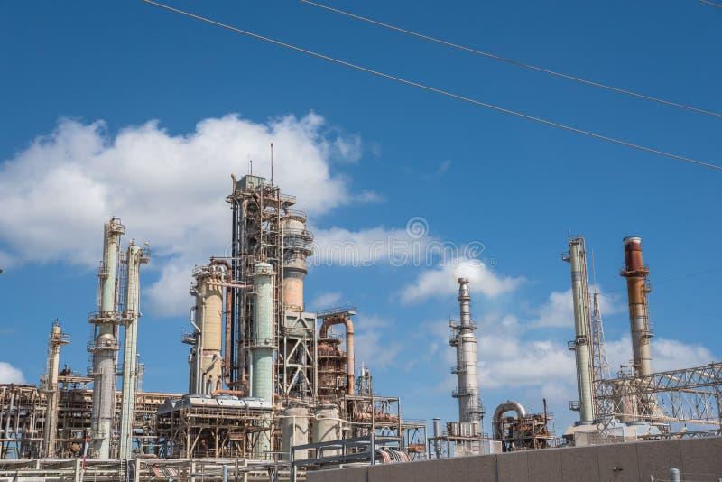 Oil refiner cloud blue sky Corpus Christi, Texas, USA. Oil refinery, oil factory, petrochemical plant in Corpus Christi, Texas, USA, cloud blue sky royalty free stock image