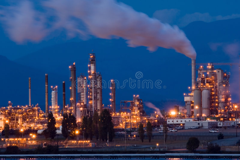 Oil refinery. Anacortes, WA oil refinery at night royalty free stock photo