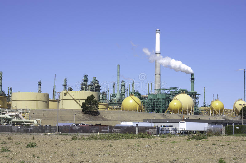 Oil refinery. View of a oil refinery in northern California royalty free stock image