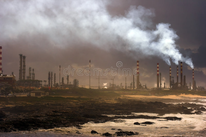Oil refinery. Of Leca da Palmeira, near Oporto in Portugal royalty free stock images