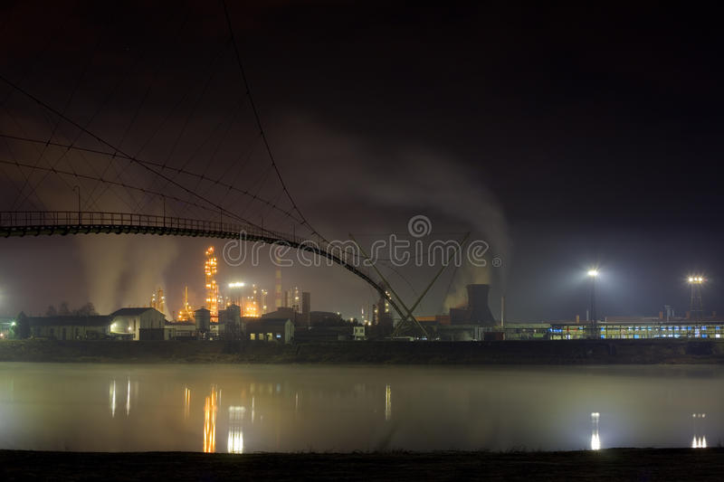 Oil refinery. Night shoot of oil refinery stock images