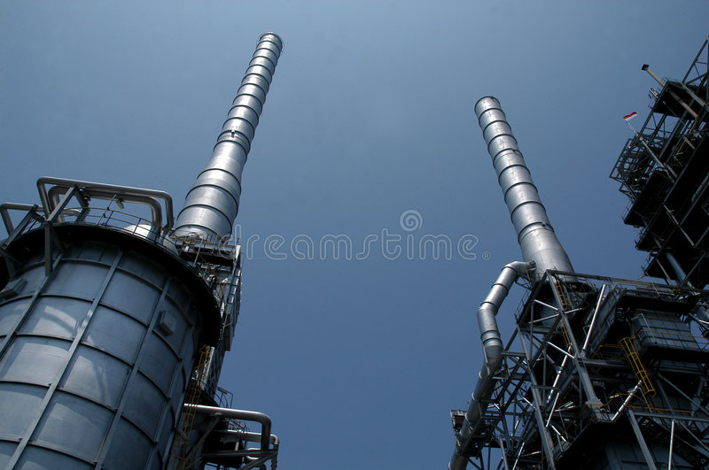 Oil Refinery. Blue Sky unleaded oil refinery in Balongan District, Indramayu City, West Java Province, Indonesia stock photo