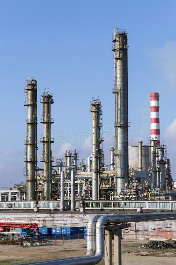 Oil refinery. View of modern oil petrochemical refinery royalty free stock images