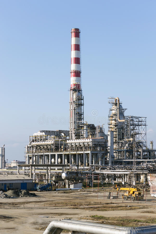Oil refinery. View of modern oil petrochemical refinery stock photo
