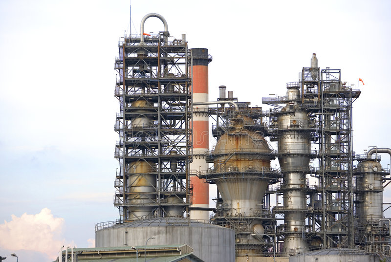 Oil Refinery. Image of oil refinery equipment in Malaysia royalty free stock photos