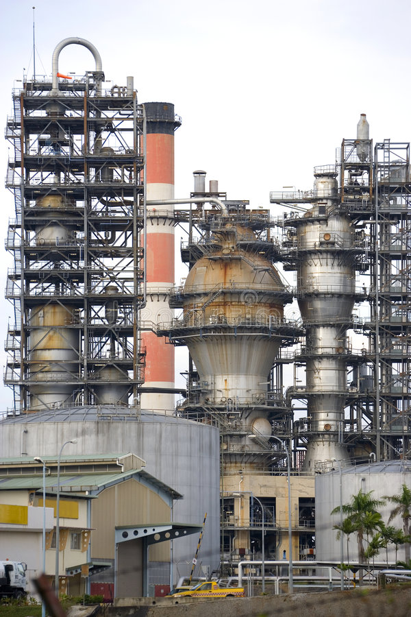 Oil Refinery. Image of oil refinery equipment in Malaysia stock photography