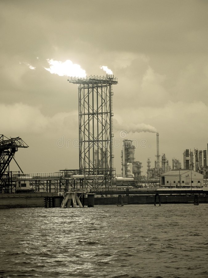 Oil refinery. New orleans oil refinery on the Mississippi stock photo