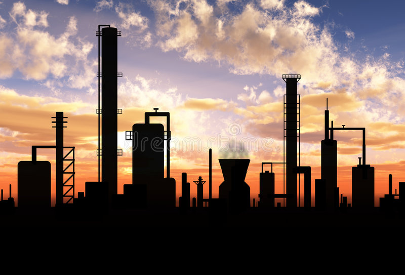 Oil refinery. Factory over sunrise royalty free stock photos
