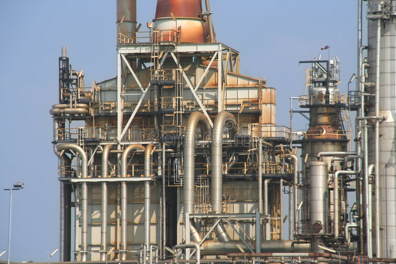 Oil Refinery. Detail of oil refinery in Rotterdam Europoort royalty free stock photography