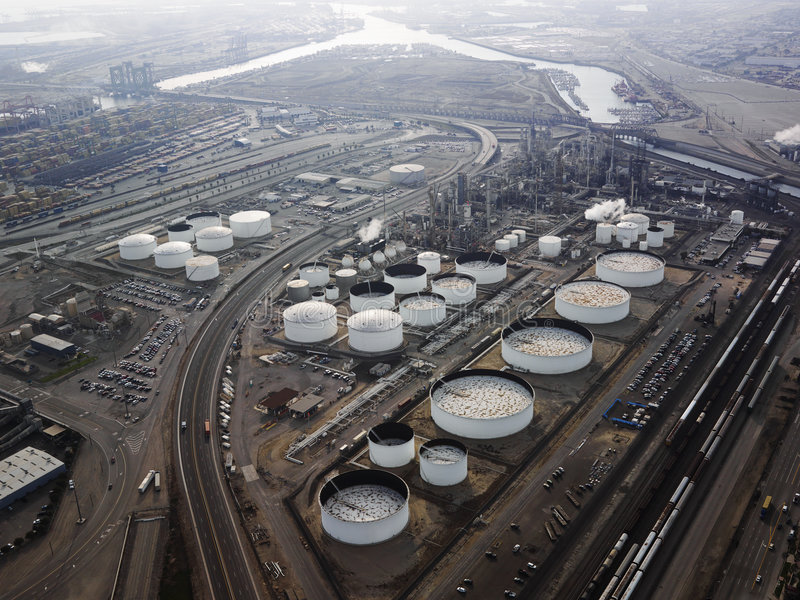 Oil refinery aerial. Aerial view of liquid storage tanks in Los Angeles California oil refinery royalty free stock image