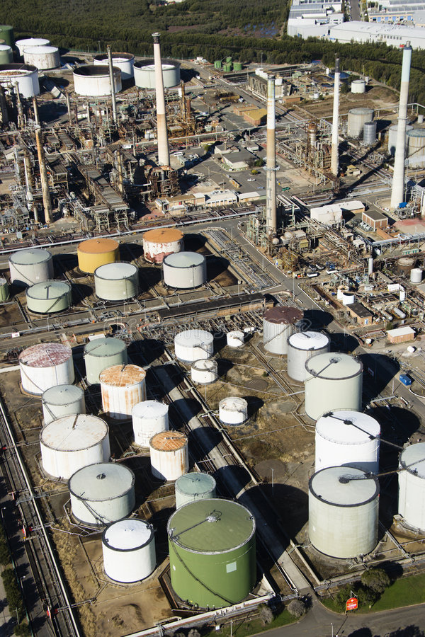 Oil refinery aerial. Aerial view of oil refinery in Australia royalty free stock images