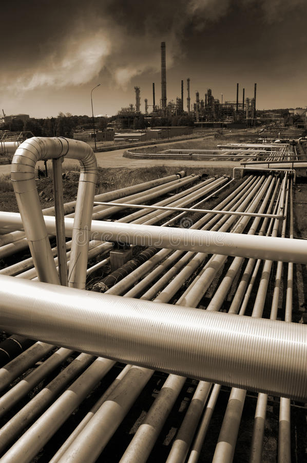 Download Oil Refinery In Brown Toning Concept Stock Image - Image: 28805341