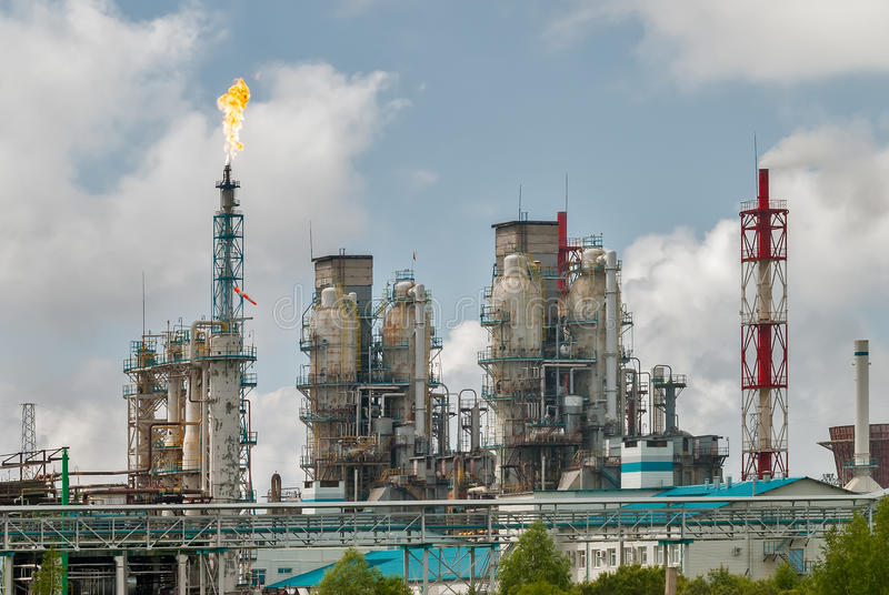 Oil refinery building industry stock photos