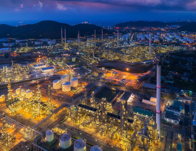 Oil refinery and chemical plant from air bird eye view. Factory, industrial and Energy concept stock images