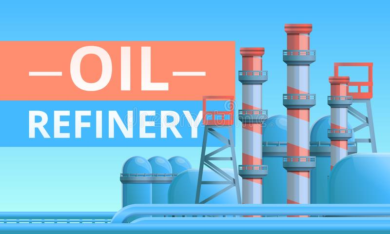 Oil refinery concept banner, cartoon style vector illustration