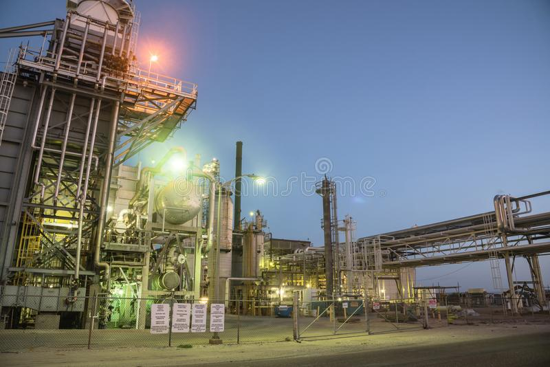 Oil refinery Corpus Christi, Texas, USA. Oil refinery, oil factory, petrochemical plant at blue hour in Corpus Christi, Texas, USA royalty free stock image
