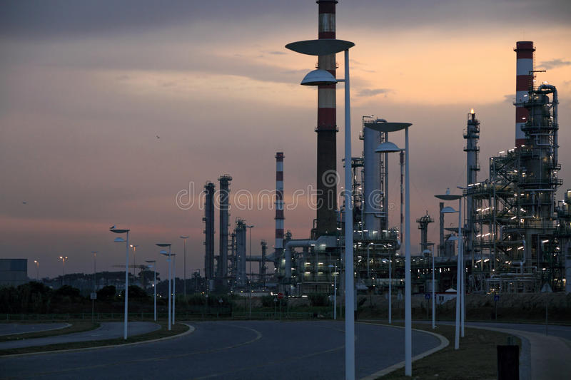Download Oil refinery at dawn stock photo. Image of chimney, horizontal - 40038722