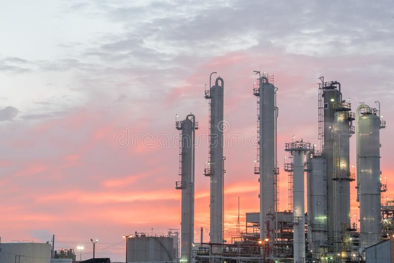 Oil refinery at dramatic sunrise. Oil factory, petrochemical plant in Corpus Christi, Texas, USA. Petroleum industry background royalty free stock image
