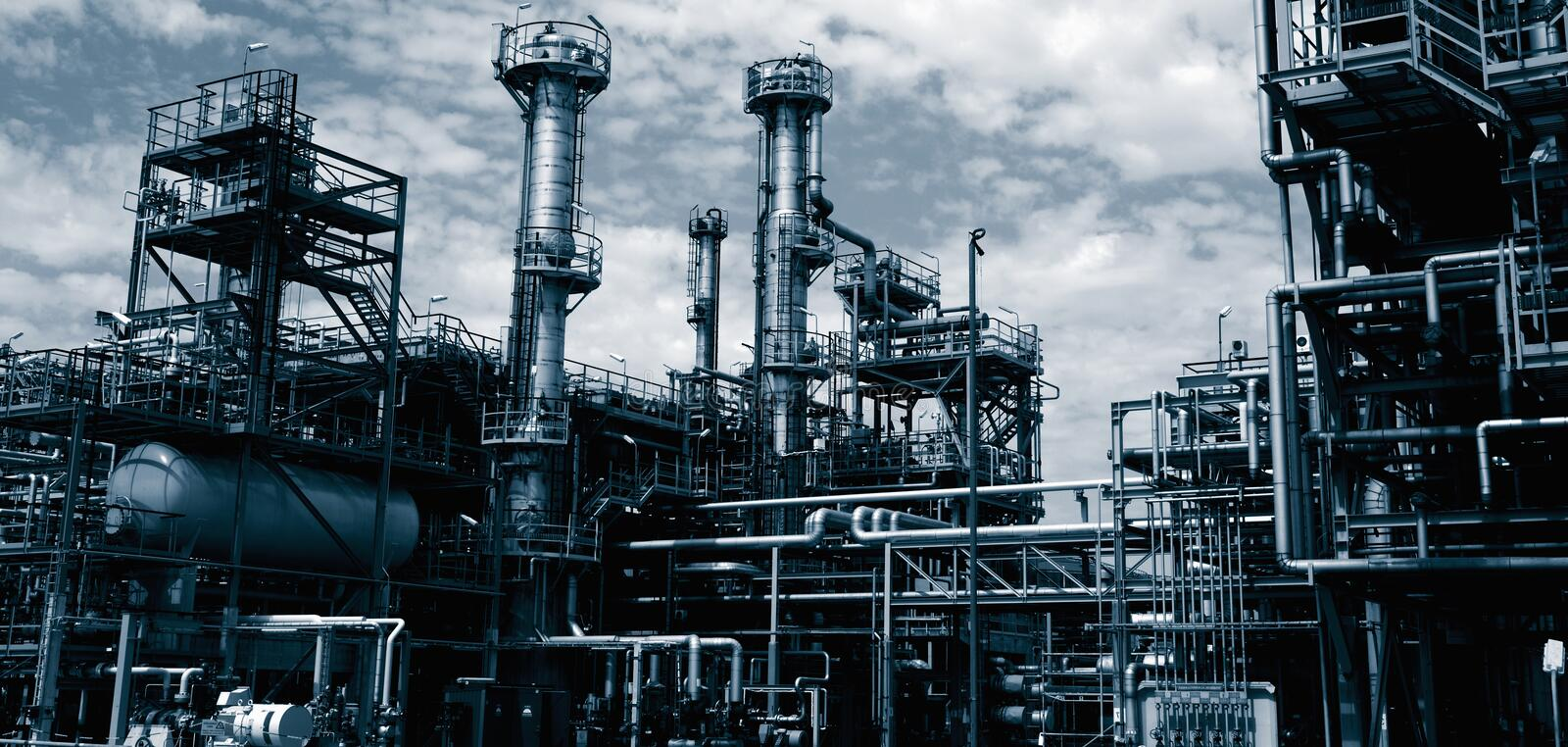 Download Oil refinery at dusk stock image. Image of pipes, environment - 15307931