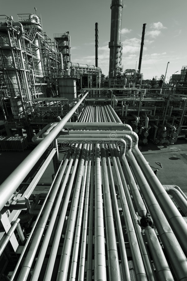Download Oil-refinery at dusk stock photo. Image of power, gasoline - 8488368