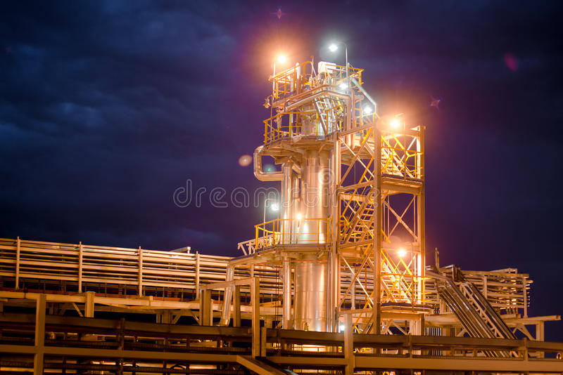 Oil Refinery At evening stock photos