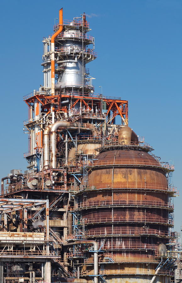 Oil Refinery factory. Background with Oil Refinery factory and sky royalty free stock image