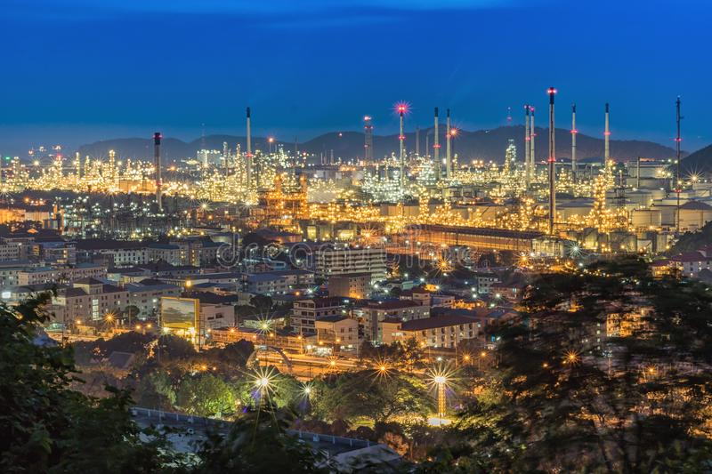 Oil Refinery factory in evening royalty free stock photos