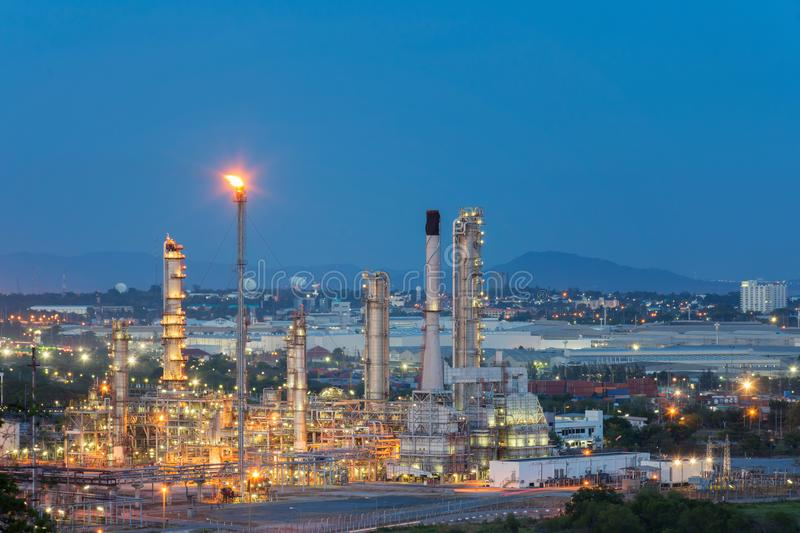 Oil Refinery factory in the morning , petrochemical plant , Petroleum. royalty free stock photo
