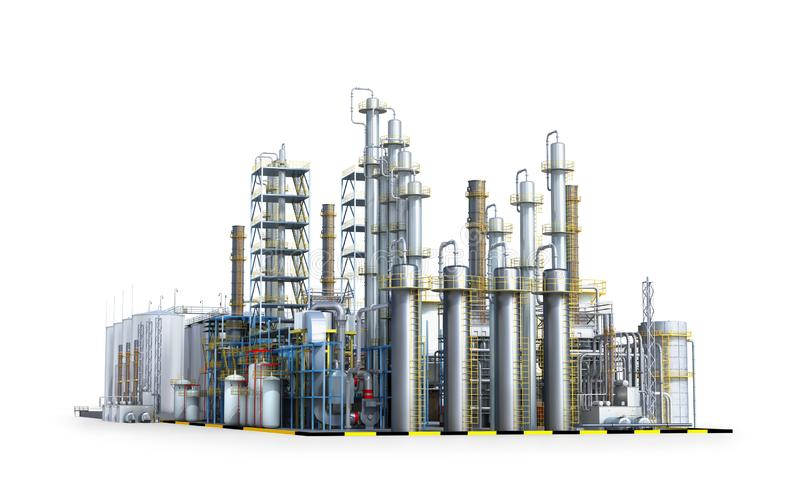 Oil refinery. Factory outside stock illustration