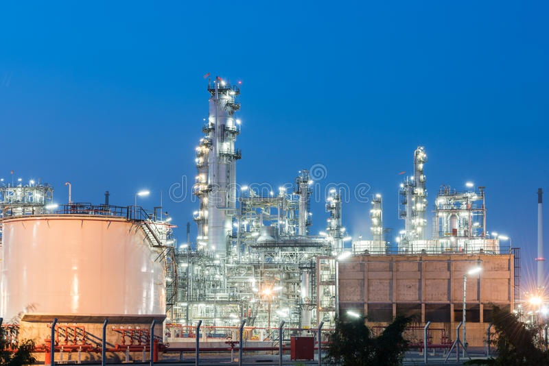 Oil Refinery factory at sunset. Petroleum, petrochemical plant stock photography