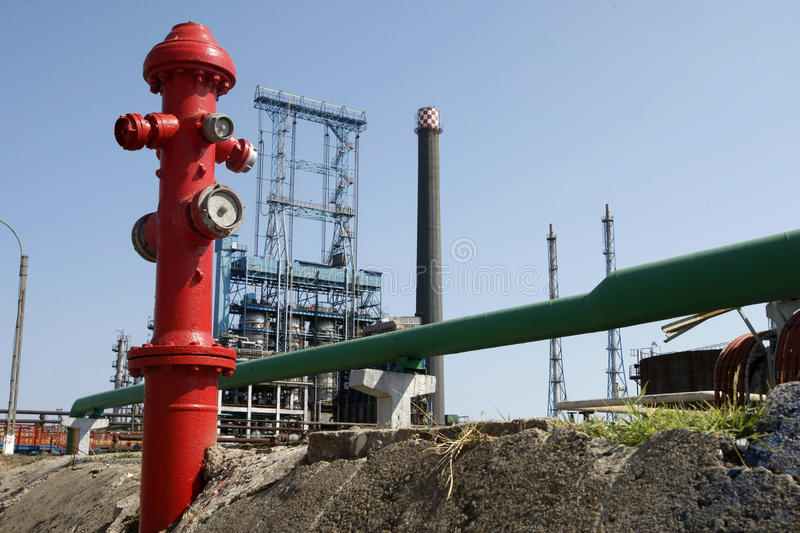 Oil Refinery Fire Hydrant Royalty Free Stock Photos