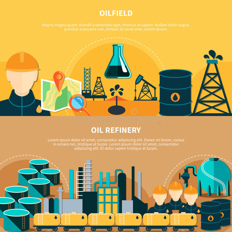 Oil Refinery Horizontal Banners royalty free illustration