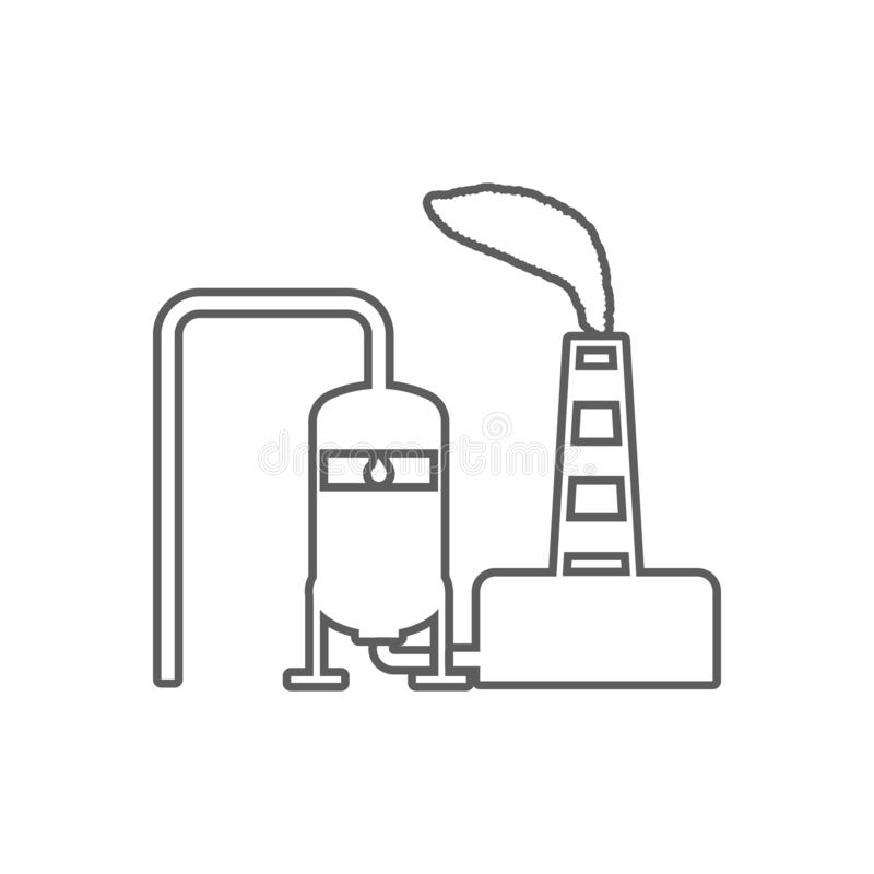 oil refinery icon. Element of Oil for mobile concept and web apps icon. Outline, thin line icon for website design and development royalty free illustration