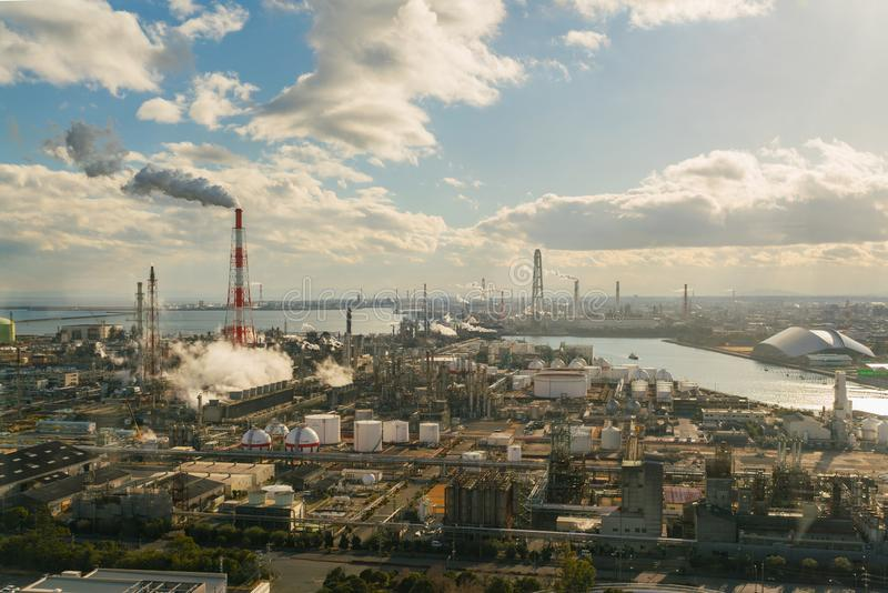 Oil refinery industrial and chemical factory plant with blue sky stock image