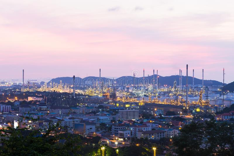 Oil refinery industrial zone at sunset stock photos