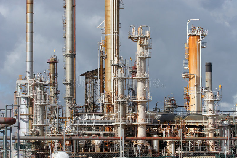Oil Refinery Industry Plant. Detail of industrial plant at an oil refinery stock image