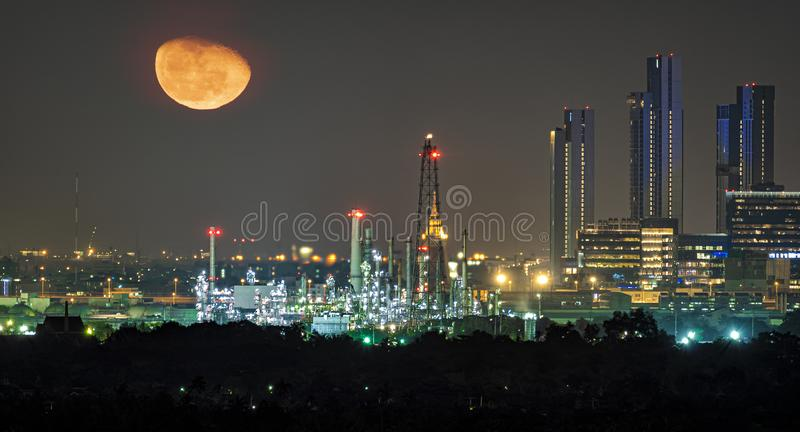 Oil refinery industry plant along twilight morning royalty free stock photo