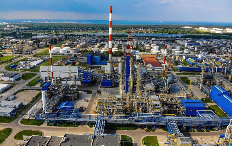 Oil refinery Lotos Gdansk. Petrol, petrolum, oilpump, stogi, portgdansk, oilindustry, poland, europe royalty free stock photo