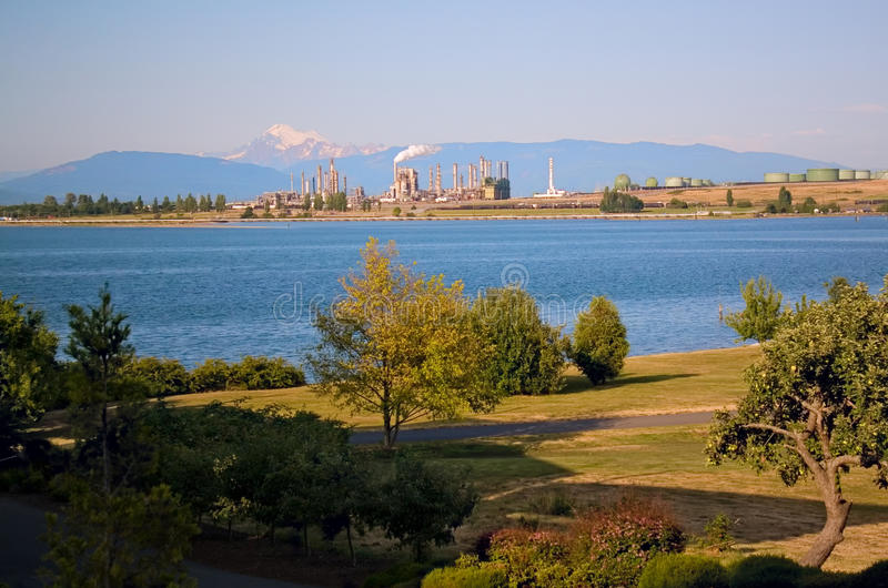Download Oil Refinery And Mount Baker On Puget Sound Stock Image - Image: 10142859
