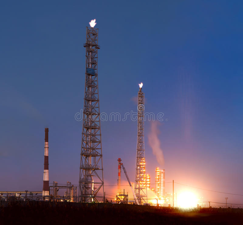 Download Oil Refinery at night stock image. Image of burner, industrial - 16895069