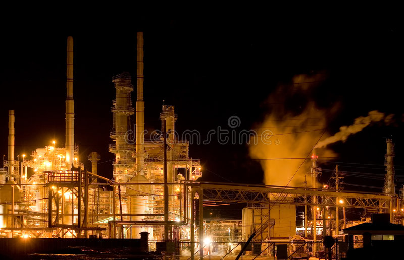 Download Oil refinery at night stock image. Image of cooling, fumes - 3983263
