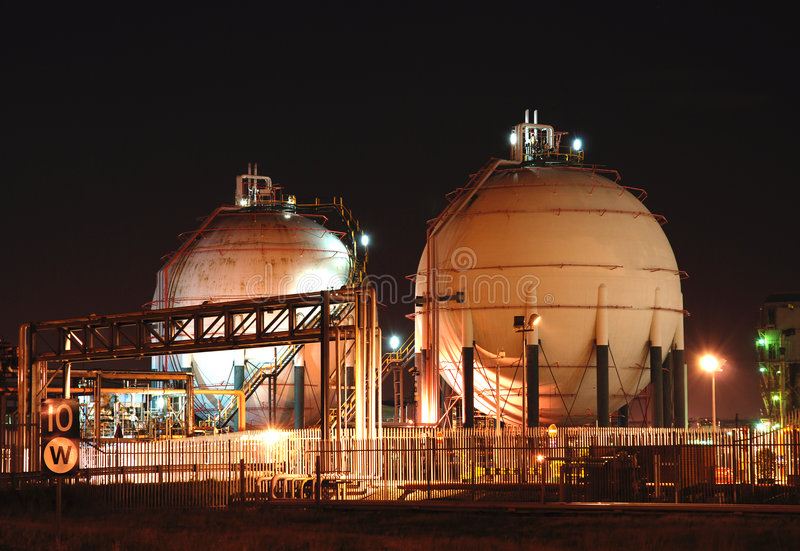 Oil Refinery at Night. Detail of oil refinery at night royalty free stock photo