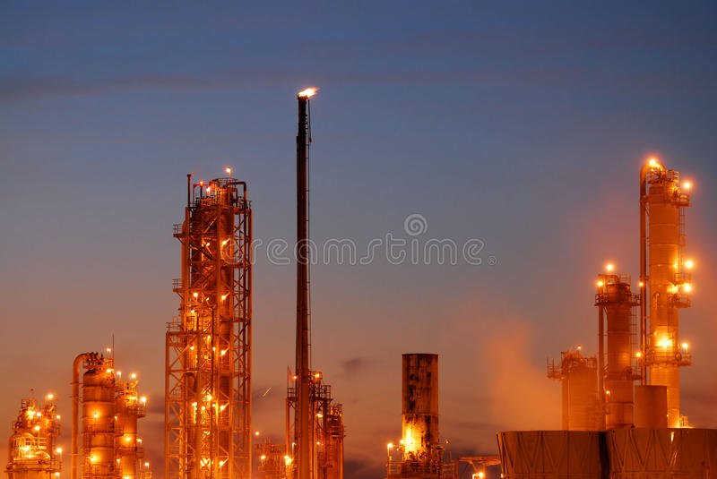 Oil Refinery at Night royalty free stock photos