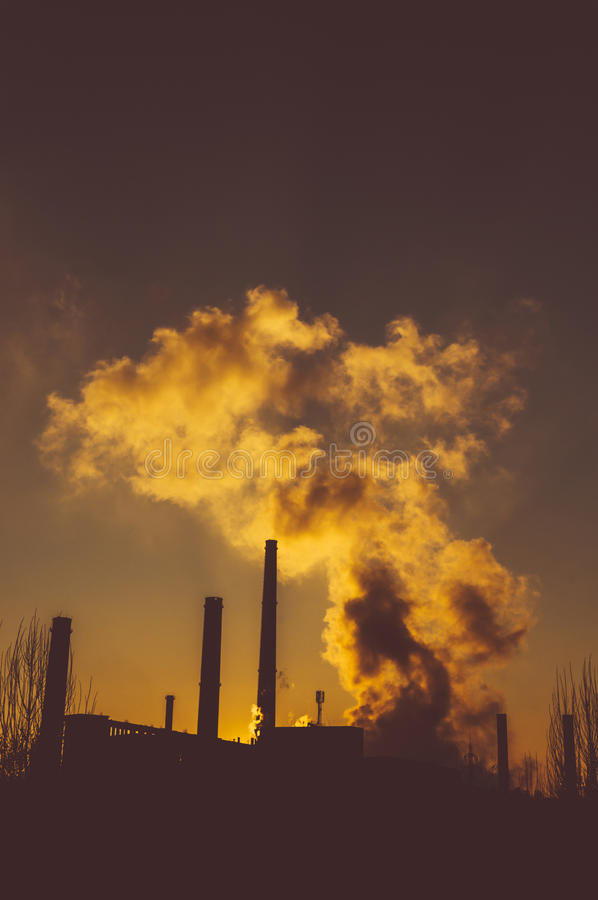 Oil refinery at night stock images