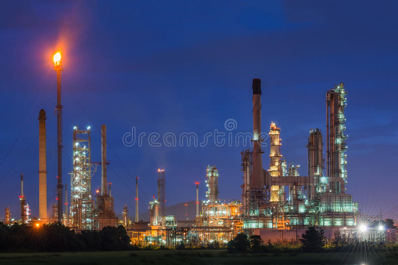Oil refinery or petroleum refinery industry in industrial estate. Industrial process plant where crude oil is processed and refined into more useful products stock photo