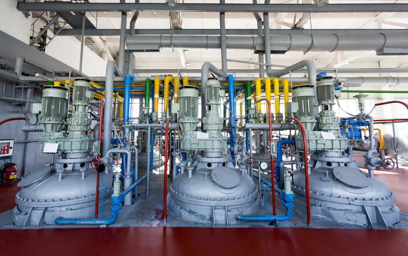 Oil refinery. Pipelines of an oil refinery from the inside stock photos