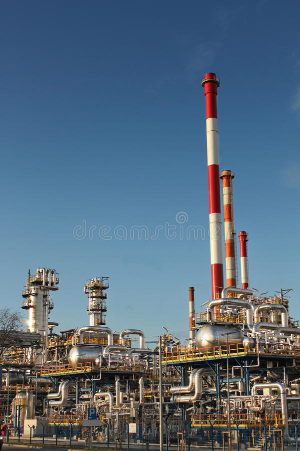 Oil refinery plant. Part of an oil refinery plant stock photography